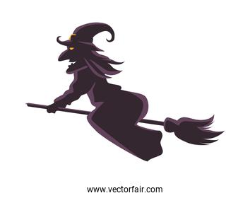 witch flying in broom silhouette icon