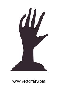 death zombie hand isolated icon