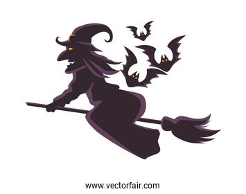 witch flying in broom and bats flying silhouette icon