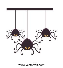 halloween spiders hanging isolated icons