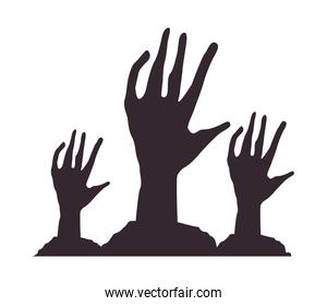death zombie hands isolated icons