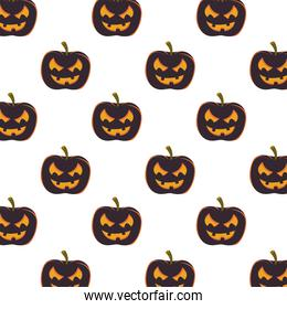 halloween pumpkins with faces pattern background