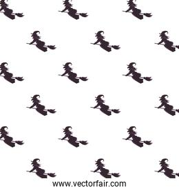 witches flying in brooms silhouettes pattern