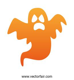 halloween ghost floating orange color icon