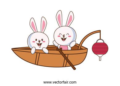 cute mid autumn rabbits couple in boat
