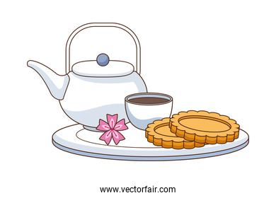chinese tea and cookies food icon