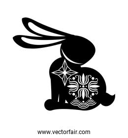 silhouette rabbit sitting with mid autumn decoration in skin