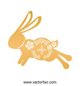golden rabbit jumping with mid autumn decoration in skin icon