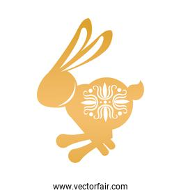 golden rabbit jumping with mid autumn decoration in skin