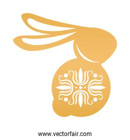 golden rabbit seated with mid autumn decoration in skin icon