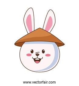 cute mid autumn rabbit with chinese hat head character