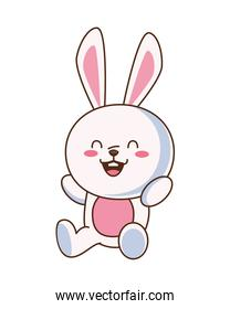 cute little rabbit funny seated character