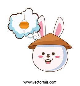 cute mid autumn rabbit with chinese hat and lantern in dream bubble