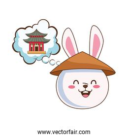 cute mid autumn rabbit with chinese hat and temple building in dream bubble