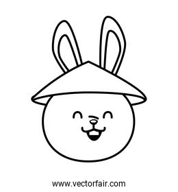cute mid autumn rabbit with chinese hat head line style