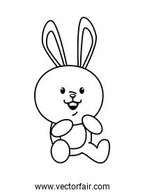pretty little rabbit funny seated character line style