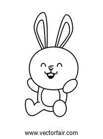 cute little rabbit funny seated character line style