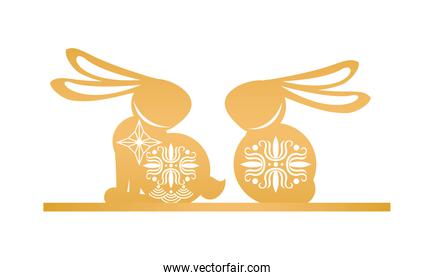 golden rabbits seated with mid autumn decoration in skin icon