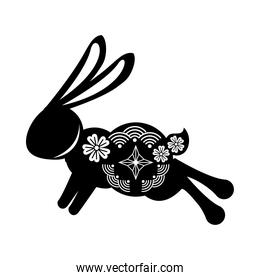 silhouette rabbit jumping with mid autumn decoration in skin icon