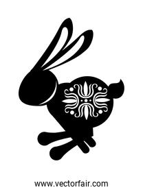 silhouette rabbit jumping with mid autumn decoration in skin