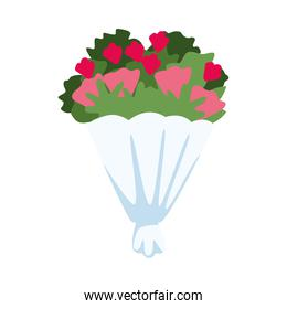 roses flowers bouquet isolated icon