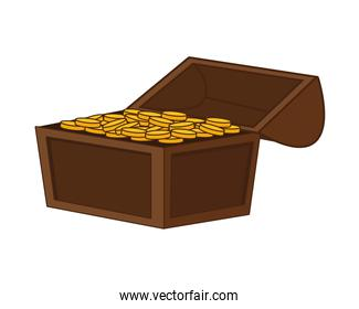 treasure chest with coins golden icon