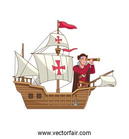 Christopher Columbus with telescope in caravela