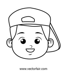 cute little boy student with sport cap head line style