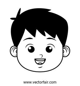 cute little boy student head character line style