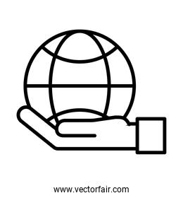 hand lifting sphere browser line style icon