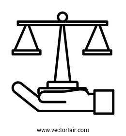 hand lifting scale balance linear style icon