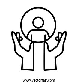 hands human protecting human figure silhouette line style design