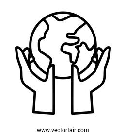 hands human lifting earth planet line style icon