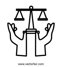 hands protecting scale balance line style icon