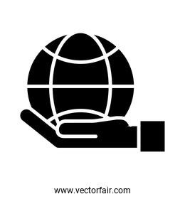 hand lifting sphere browser silhouette style icon