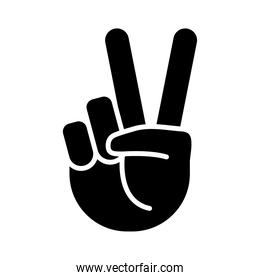 hand peace and love sign silhouette style icon