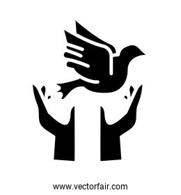 hands protecting peace dove flying silhouette style icon