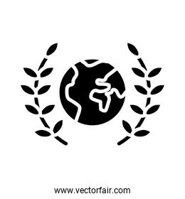 world planet earth with wreath crown silhouette style icon