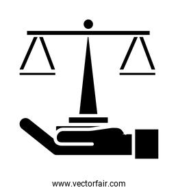 hand lifting scale balance silhouette  icon