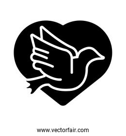 peace dove flying in heart silhouette style icon