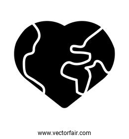 world planet earth heart shape silhouette style icon