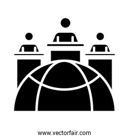sphere browser with people around in speech stages silhouette style icon