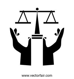 hands protecting scale balance silhouette style icon