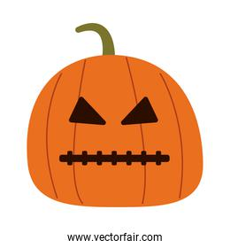 halloween pumpkin with stitched mouth flat style icon