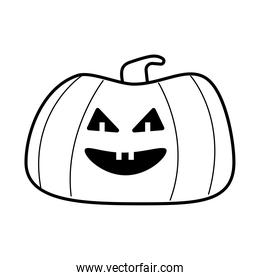 halloween pumpkin with face line style icon
