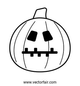 halloween pumpkin with stitched mouth line style icon