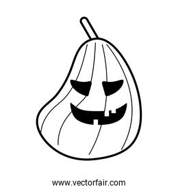 halloween pumpkin with long head line style icon