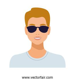 man wearing sunglasses avatar character isolated icon