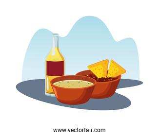 mexican nachos and beans refried with tequila delicious food