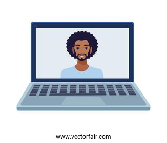 afro man with beard in laptop avatar character